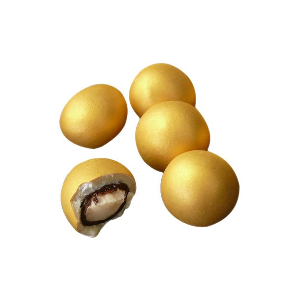Golden chocolate-covered hazelnuts - 180 gr